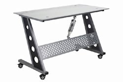 clear glass top compact desk