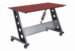red glass top compact desk