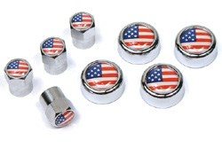 American flag tire valve caps and license plate screw covers