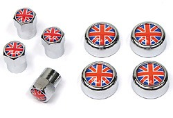 MINI tire valve caps and license plate screw covers