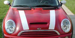 MINI Cooper white hood stripes